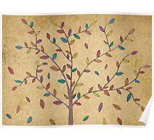 Falling Leaves Oak Tree Hand Drawn Art Poster