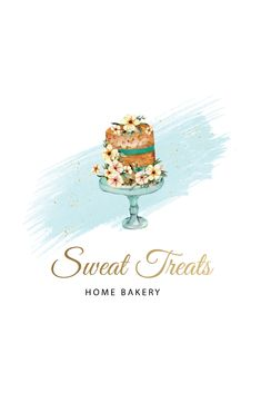 Bakery Business Cards, Cake Business, Cake Logo Design, Menu Design, Dessert Logo, Cupcake Logo, Baking Logo, Watercolor Logo, Hand Logo