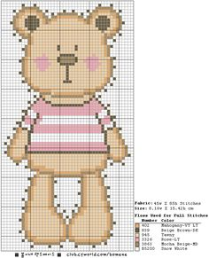 Cute Teddy Bear Hama Perler Bead Pattern or Cross Stitch Chart