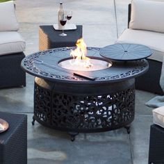 Red Ember San Miguel Cast Aluminum 48 in. Round Gas Fire Pit Chat Table | Jet.com