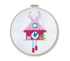 Set of 3 Fuschia Cuckoo Clocks Cross Stitch Pattern Instant Download   Tiny Modernist Cross Stitch