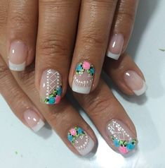 Uñas Cute Pedicure Designs, Nail Art Designs, Cute Pedicures, Manicure And Pedicure, Jennifer Nails, Nail Pops, French Nail Art, Beautiful Nail Designs, Spring Nails
