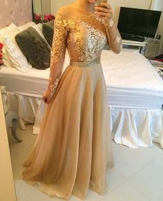 Long sleeve prom dress, gold prom dresses, lace prom dresses, cheap prom dresses, sexy prom dress from prom dress Gold Prom Dresses, Prom Dresses 2015, Prom Dresses Long With Sleeves, A Line Prom Dresses, Cheap Prom Dresses, Dress Prom, Gold Dress, Dress Lace, Dress Formal