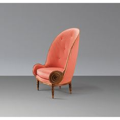 FAUTEUIL NAUTILE carved walnut upholstered armchair with nautilus detail || PAUL IRIBE || 1913