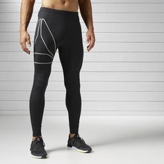 Mens Running Tights, Running Wear, Running Leggings, Outfits Hombre, Sport Outfits, Reebok, Mens Fitness, Fitness Gear, Gym Style