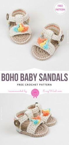 Boho Baby Sandals Free Crochet Pattern on easywool.com