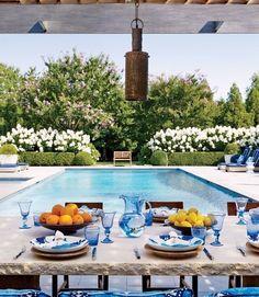 Poolside entertaining, Pool, landscape design ideas, pool design ideas, patio furniture ideas, table top, flowers, house, home, interior design, interior, design, interior designer, Costa Mesa, Newport Beach, orange county, California, Design beautifully!