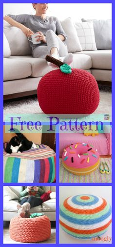 These Crochet Colorful Pouf Patterns are so beautiful. All Free Crochet, Cute Crochet, Crochet Crafts, Yarn Crafts, Crochet Projects, Crochet Designs, Crochet Patterns, Crochet Owl Basket, Crochet Pouf