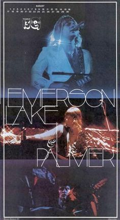 Emerson Lake and Palmer August Calendar Elven Queen, Psychedelic Bands, Rock And Roll Fantasy, Greg Lake, Emerson Lake & Palmer, Country Bands, Noise Pollution, Live Rock, Progressive Rock