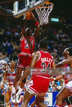 Michael Jordan of the Chicago Bulls goes in for a two handed slam against the Washington Bullets during an NBA basketball game circa 1986 at the Capital Centre in Landover, Maryland. Jordan played for the Bulls from and 1995 - Michael Jordan Unc, Mike Jordan, Michael Jordan Photos, Jeffrey Jordan, Michael Jordan Basketball, Jordan Logo, Love And Basketball, Basketball Quotes, Nba Players