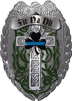 """Neat Irish-themed Law Enforcement tattoo with the Irish phrase """"Men of Law"""" and blue line!"""