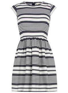 Blue & white stripe dress - Dorothy Perkins - $55. This would be so adorable with a red belt & red shoes for spring & summer! Nautical!