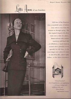Lilli Ann Fashion  Advertisement  1949 #LilliAnnFashions