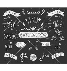 Vintage style chalkboard catchwords and elements vector typography by dolcevita on VectorStock®