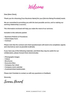 Wedding Welcome Letter Template Word Luxury Virtual assistant Wel E Packet and C… – Finance tips for small business Business Names, Business Tips, Online Business, Cleaning Business, Doula Business, Errand Business, Social Media Marketing Business, Business Essentials, Salon Business