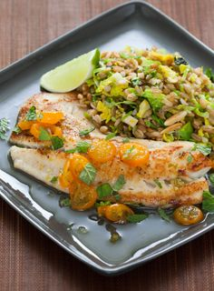 This was sooo good .... Kumquat-Lime Glazed Tilapia with Brussels Sprouts & Almond Freekeh