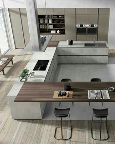 Luxury Kitchen Design, Kitchen Room Design, Kitchen Cabinet Design, Luxury Kitchens, Home Decor Kitchen, Modern House Design, Interior Design Kitchen, Kitchen Modern, Modern Kitchens