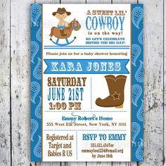 Items similar to Lil' Cowgirl Baby Shower Invitation - Custom Printable - Pink Girl Baby Shower invite on Etsy Cowboy Invitations, Custom Baby Shower Invitations, Printable Baby Shower Invitations, Invites, Cowgirl Baby Showers, Cowboy Baby Shower, Baby Boy Shower, Westerns, Western Babies