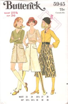 """Vintage 1970 Butterick 5945 Skirt in Three Lengths Sewing Pattern Size Waist 25 1/2"""" by Recycledelic1 on Etsy"""