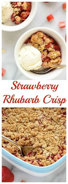 Healthy Strawberry Rhubarb Crisp with Oatmeal Cookie Topping. Recipe at wellplated.com @wellplated