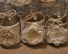 Burlap Centerpieces, Burlap Wedding Decorations, Wedding Centerpieces Mason Jars, Shower Centerpieces, Doily Wedding, Rustic Wedding, Wedding Burlap, Burlap Lace, Burlap Mason Jars