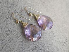 14k Gold 27 Carat Ametrine Earrings