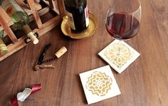 make your own Moroccan tile coasters with this DIY kit Recycled Crafts, Diy Crafts, Darby Smart, Pumpkin Cards, Diy Coasters, Stencil Diy, Mug Rugs, Crafty Craft, Diy Kits