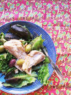 Chicken salad with sesame-salt( roast sesameseeds and crush them with salt)
