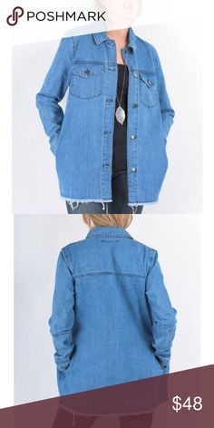 Oversized Denim Jacket The raw hem on this blue denim jacket makes it all the more edgy and stylish. Has pockets. Literally changes an entire outfit. Should be a closet staple! 100% Cotton Denim! MAKE AN OFFER. Forever Lily Jeans