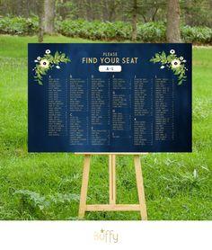 $45 on ETSY | The ALYSSA . Wedding Seating Chart . Gold & Navy Chalkboard . Alphabetical Names table numbers . Vintage Floral Rustic Custom PDF by BuffyWeddings on Etsy