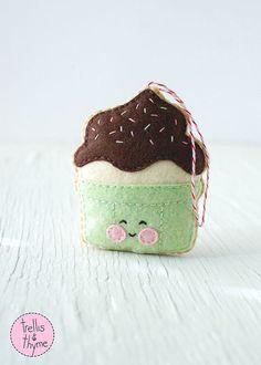 PDF Pattern - Hot Fudge Sundae, Kawaii Ornament Pattern, Felt Softie Sewing Pattern, Felt Toy Pattern