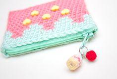 Zippered Strawberry Crochet Coin Purse by SugarJunkieShop on Etsy, $24.00