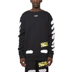 Diagonals spray sweatshirt from the S/S2017 Off-White c/o Virgil Abloh collection in black