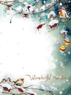 frame for a photo in the winter snowy winter kingdom - Winter Photo Frames