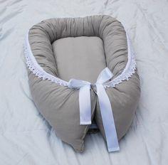 Grey+baby+sleep+nest+with+wool+filling,+organic+cotton