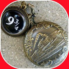 """Harry Potter Hogwarts Express Platform 9-3/4 style necklace Fantasy Steampunk Pocket Watch pendant charm Victorian by umbrellalaboratory. $19.99. ?~?~? Enchanted WATCH necklace ?~?~?  Inspired by legendary movie I present  fantasy necklace . Diameter of the watch is roughly 1-1/2"""" and is battery operated . Necklace would be great for Harry Potter convention, Birthday or Christmas present, or just simply perfect gift for any occasion. Please find my set amusing and thank y..."""