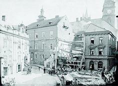 Stavební práce na Svatojánském náměstí kolem roku 1909