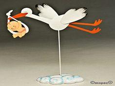 Figura pastel metal Pita cigueña con hatillo 28cm - http://regalosoutletonline.com/regalos-originales/bautizos/figura-pastel-metal-pita-ciguea-con-hatillo-28cm