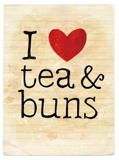 I heart tea & buns 8x6 art print by Paula Mills for lovelysweetwilliam on Etsy, $14.00