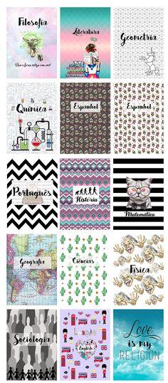 Quer personalizar seus cadernos e economizar muuuito com seu material escolar 2017? Aqui você encontra varias capas personalizadas para baixar. #manualidades