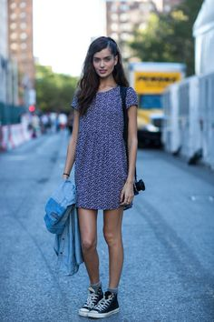 60s summer dress and sneakers