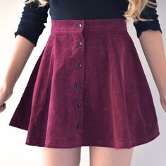 Lisa Button Skirt - Maroon
