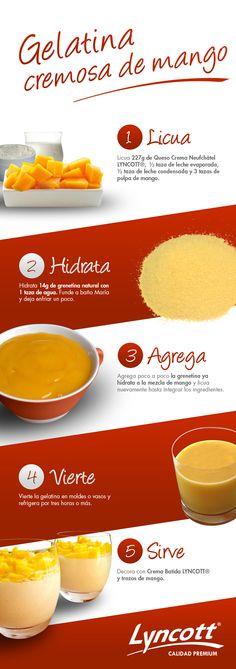 Gelatina cremosa de mango #gelatina #postre #mango #receta