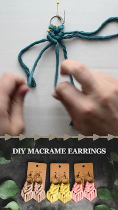 soft cotton cord // step by step instructions recover deleted photos android 2020 Diy Earrings Kit, Macrame Earrings Tutorial, Diy Tassel Earrings, Earring Tutorial, Diy Resin Earrings, Macrame Art, Macrame Projects, Diy Projects, Macrame Knots