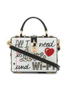 Dolce & Gabbana Dolce Embellished Leather Box Bag - White In Quadereo Fdo. Dolce & Gabbana, Dolce And Gabbana Purses, Cl Fashion, Fashion Bags, Fashion Handbags, Suede Handbags, Purses And Handbags, Leather Purses, Leather Bag
