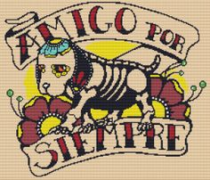 Modern Cross Stitch Kit ' Amigo Por Siempre Forever by GeckoRouge, $81.00