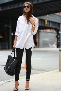 NYC, September 2014 Wearing Iro leather pants, Purificacion Garcia sabdals, Marc Jacobs sunglasses, Zara white shirt, Celine bag http://www.fashionvibe.net/