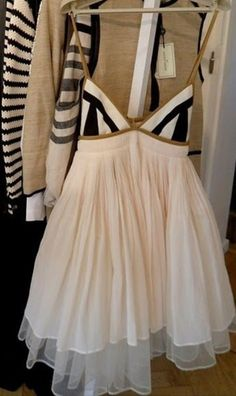 dress triangle top gold light pink flared dress striped top. Marlene Birger.