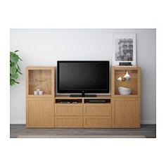 BESTÅ TV storage combination/glass doors - Hanviken/Sindvik oak effect clear glass, drawer runner, soft-closing - IKEA