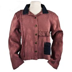 Cotton This design is a blend of jacquard roses, small waffle checks, and Cluny lace. Unusual denim trim and jean buttons accent this fashionable weekend jacket. Preshrunk and machine washable. Lace Jacket, Jeans Button, Dusty Rose, Men Sweater, Denim, Polyvore, Sweaters, Cotton, Jackets